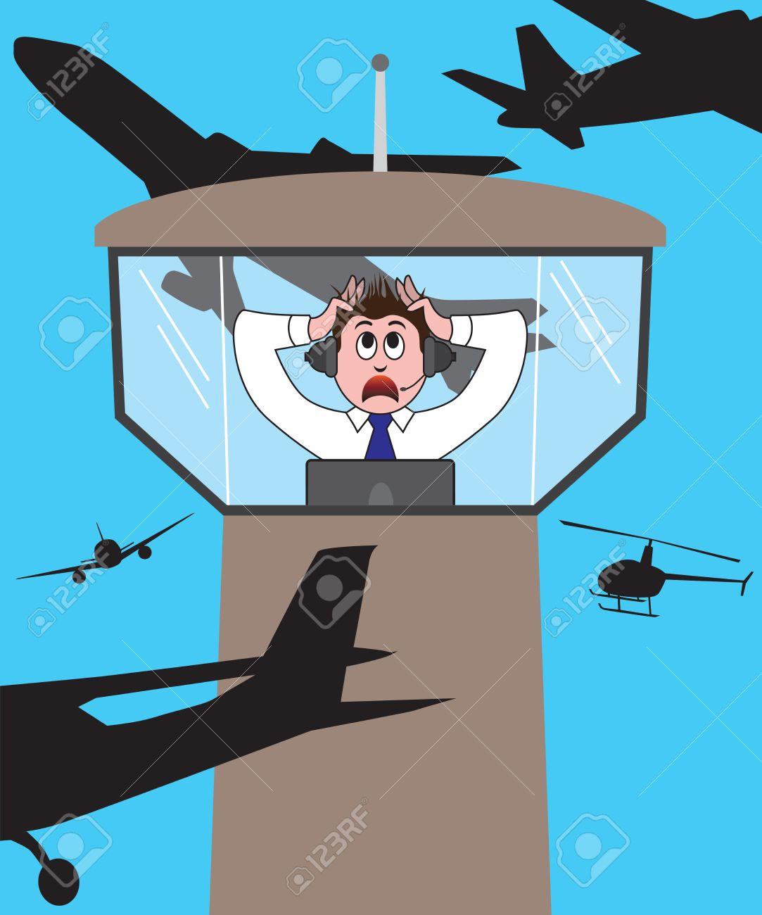 航空交通管制官が航空機彼のタワ...
