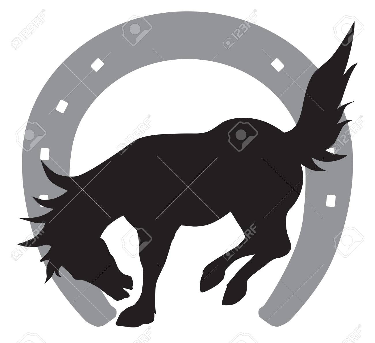 Silhouette Of Bucking Horse In Front Of Horse Shoe Royalty Free Cliparts Vectors And Stock Illustration Image 90880935