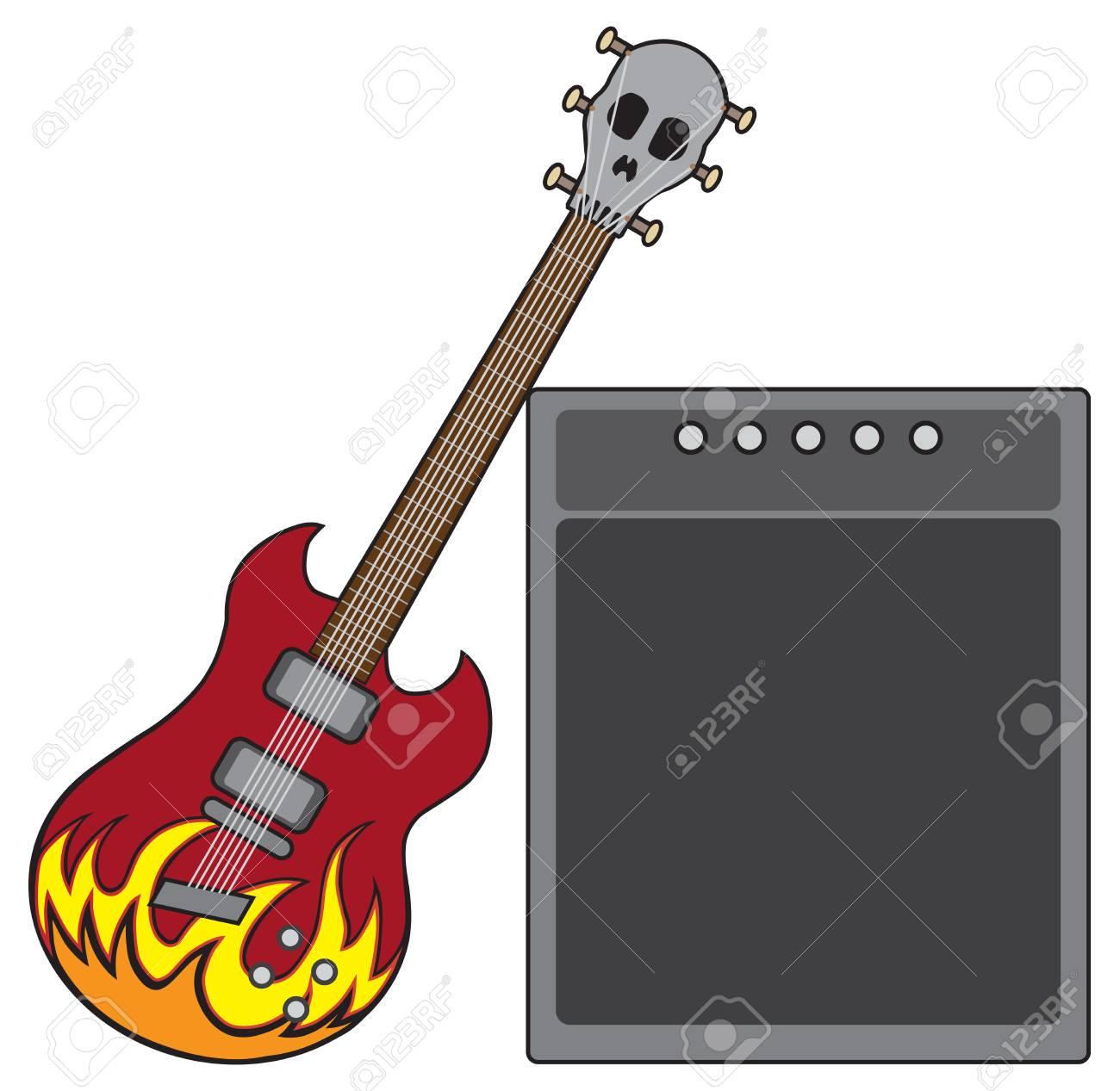 Una Guitarra Eléctrica Decorada Con Llamas Y Una Cabeza Con Forma De