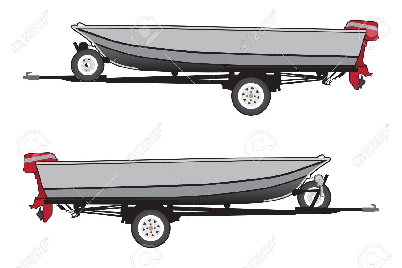An Aluminum Boat With A Red Outboard Motor Is Strapped To A