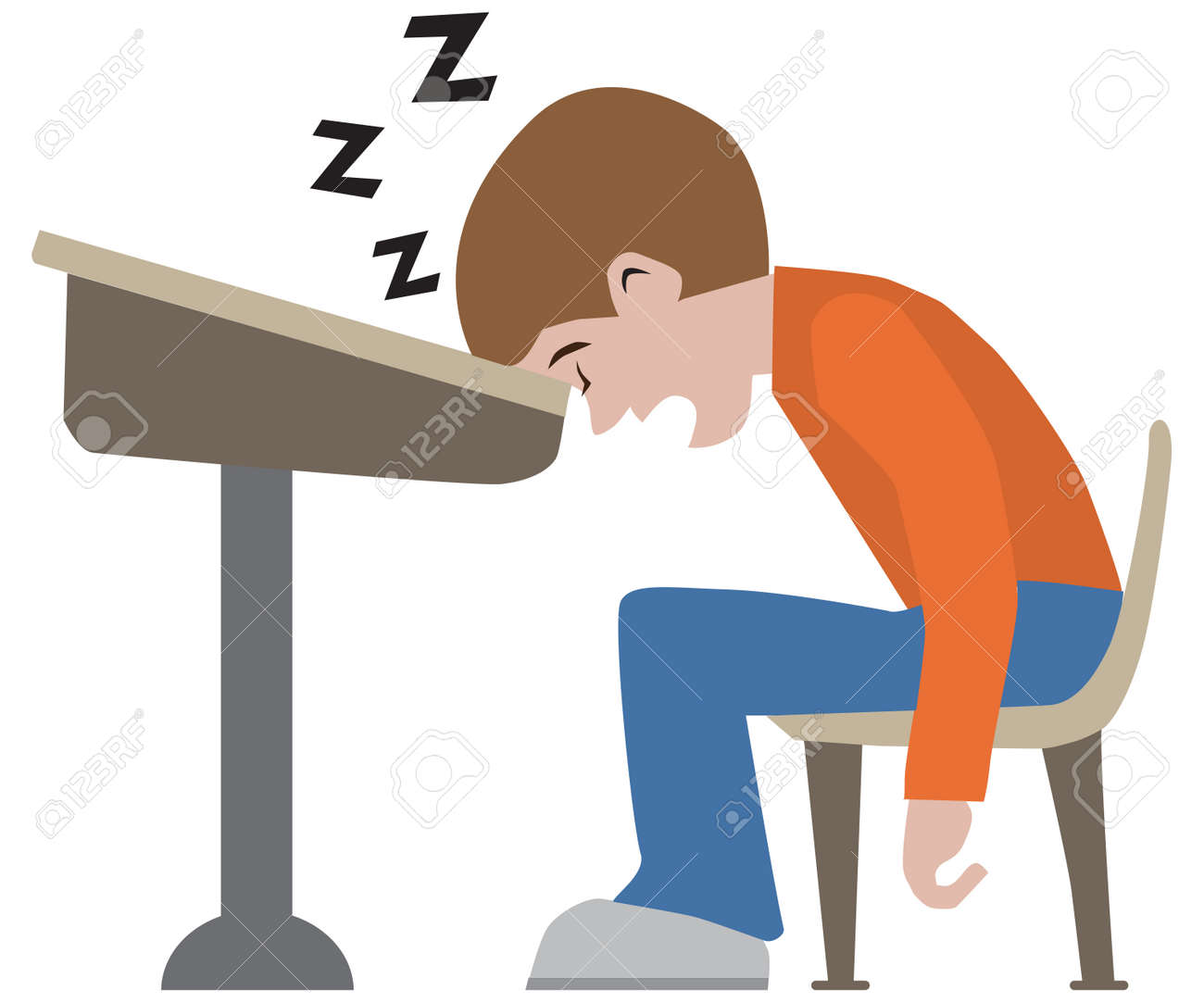 A young cartoon student has dozed off at his desk - 165951372