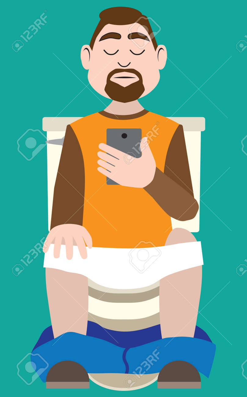 A cartoon bearded man is on his phone while using the toilet - 166492341