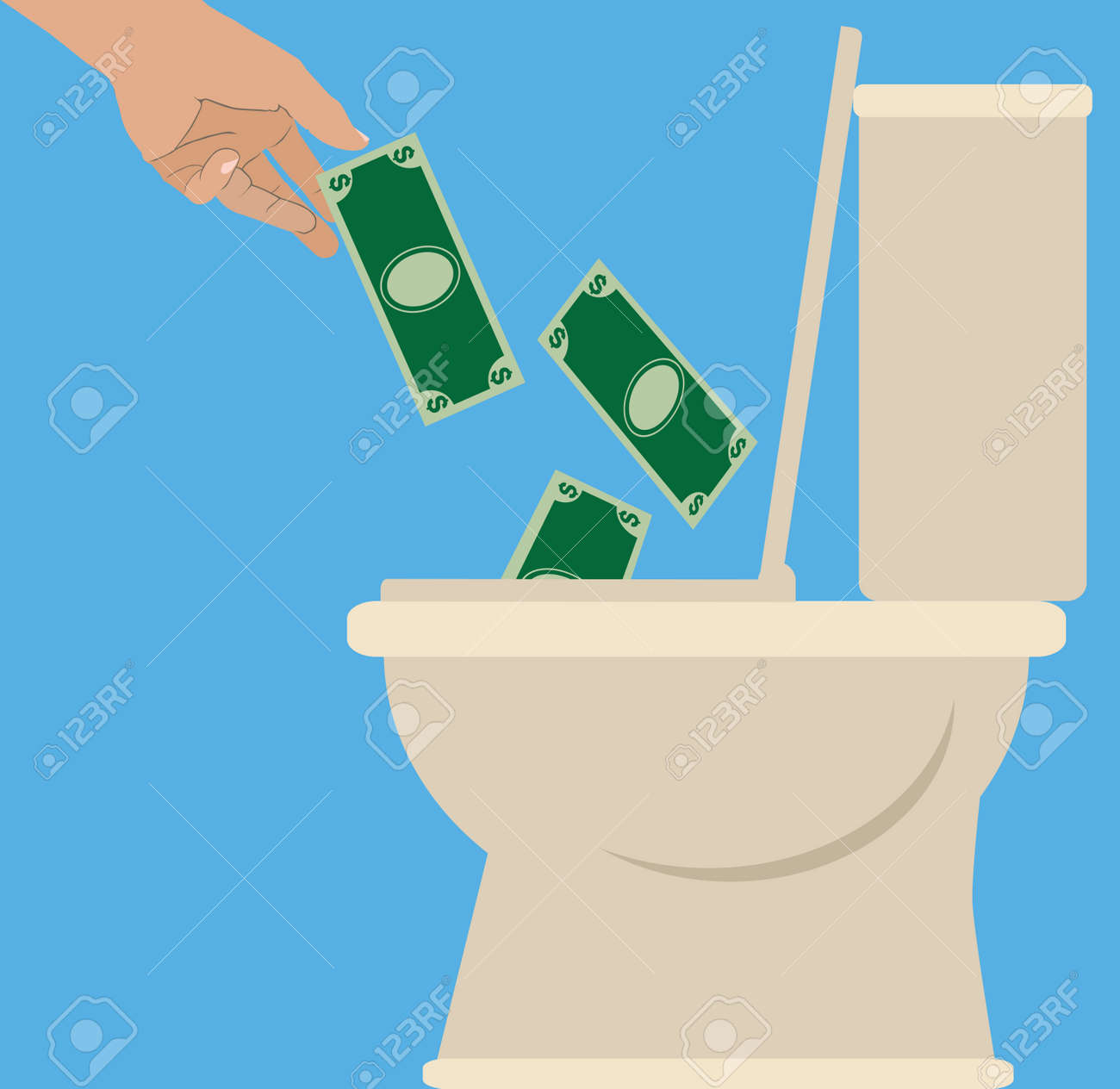 Someone is tossing currency into a toilet to be flushed - 166469965