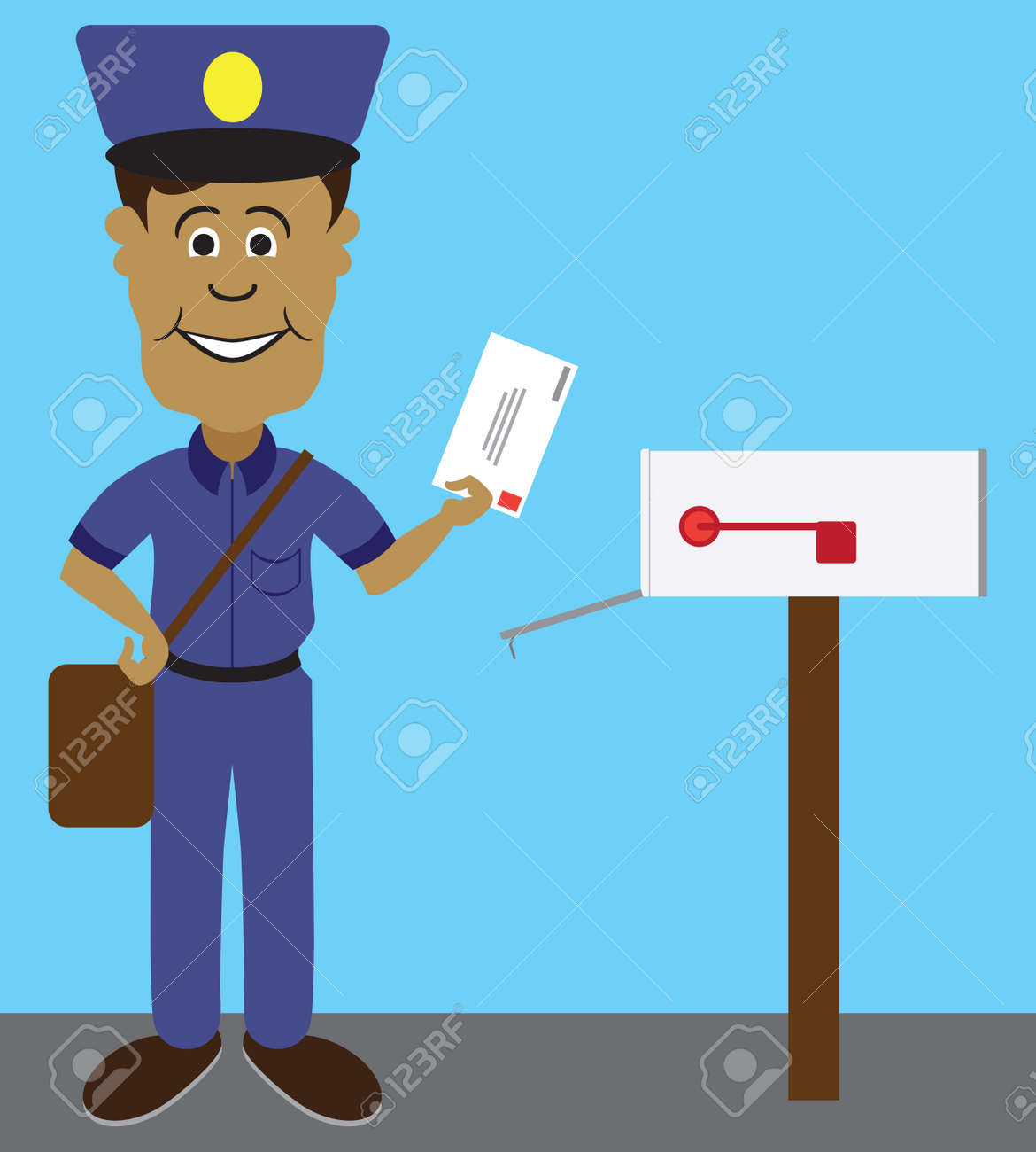 A flat vector cartoon mailman is smiling as he gets ready to deliver a letter - 166890983