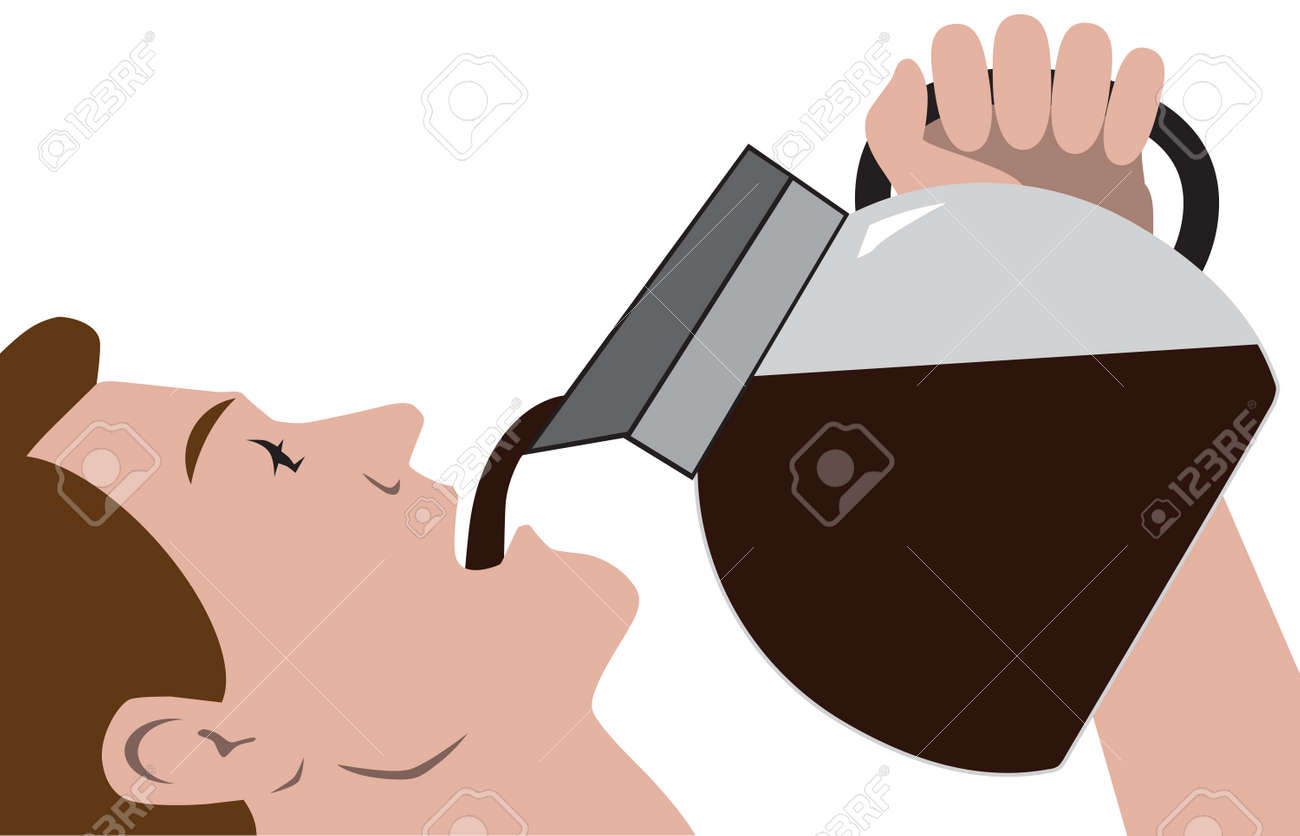 A man in a hurry for his morning coffee is drinking it straight from the pot - 167586897