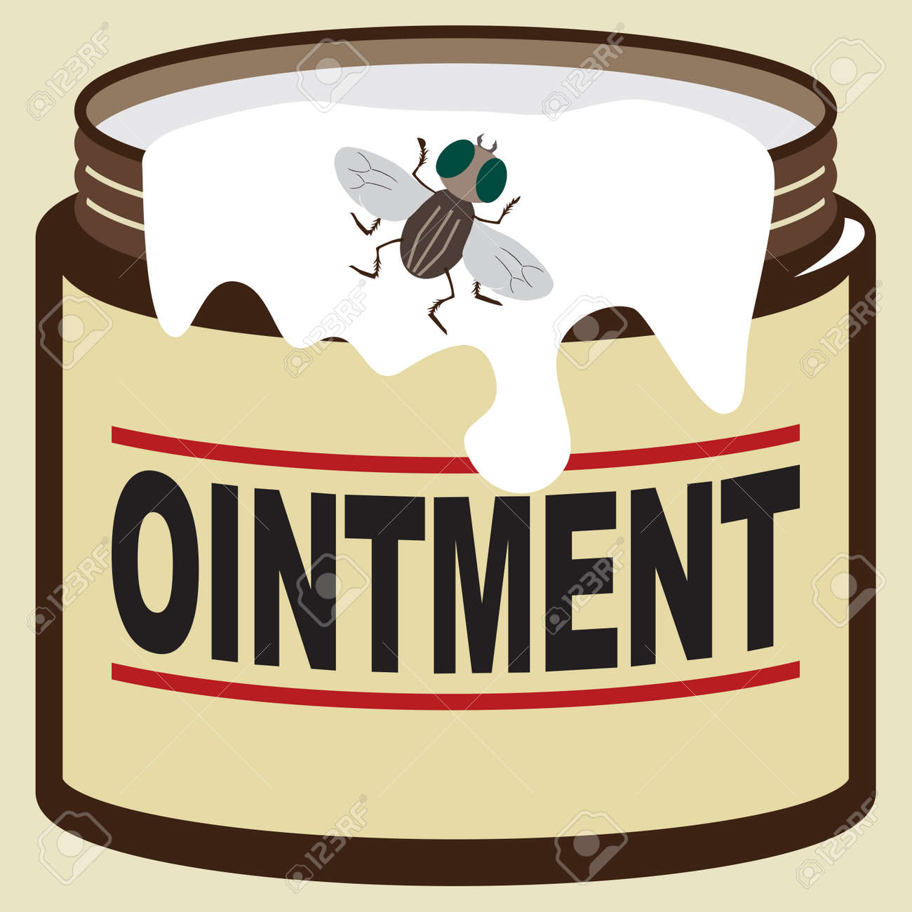 A fly is checking out some ointment that is running down the side of the jar - 167484627