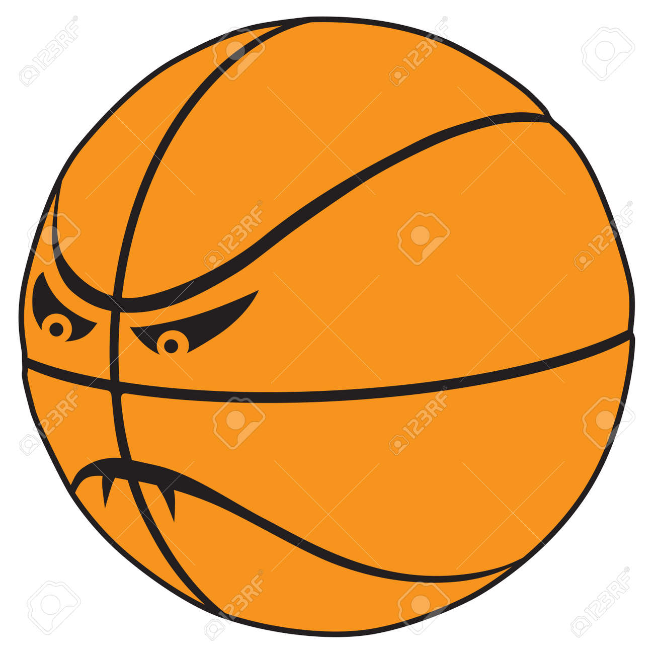 A fierce cartoon basketball with fangs is ready to play - 169027044