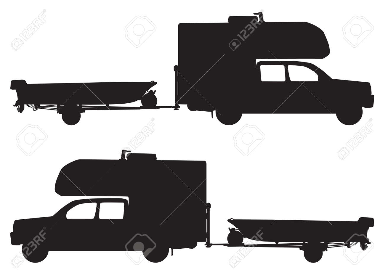 A pickup with a camper on top is towing a boat on a trailer - 169027048