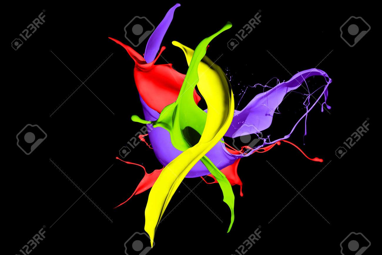 Colored paint splashes isolated on black background - 165425761