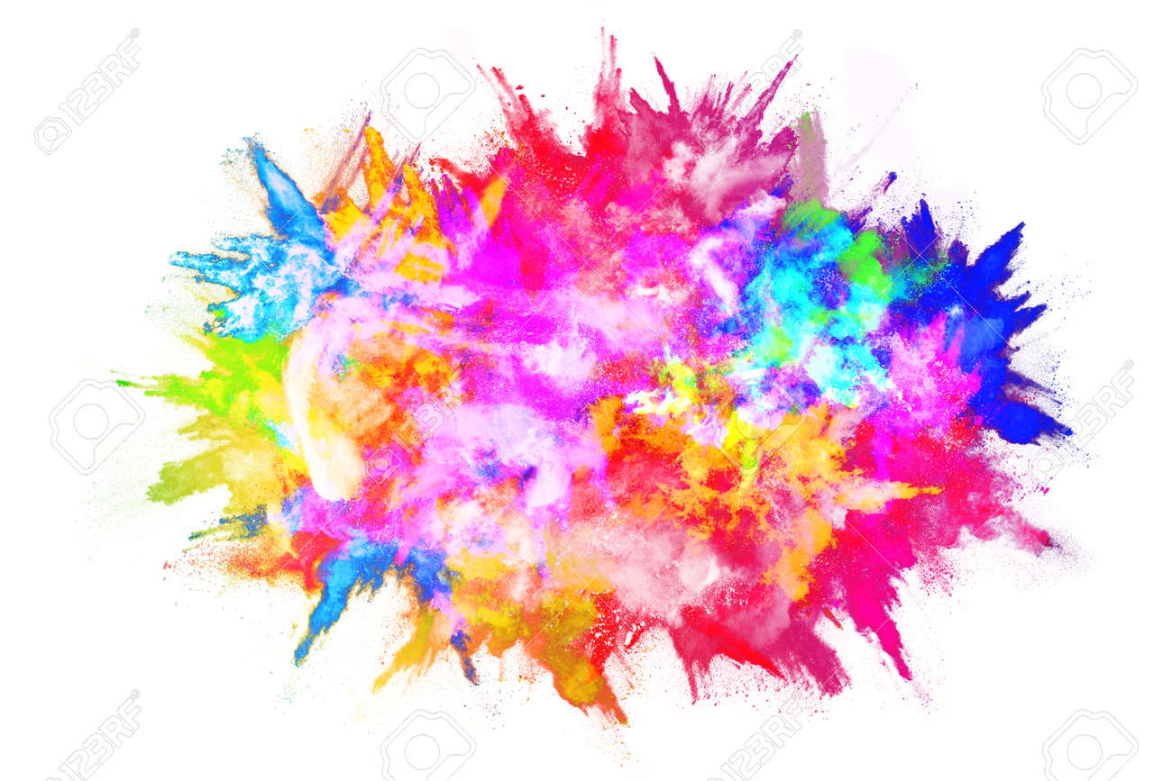 abstract powder splatted background. Colorful powder explosion on white background. Colored cloud. Colorful dust explode. Paint Holi. - 165553014