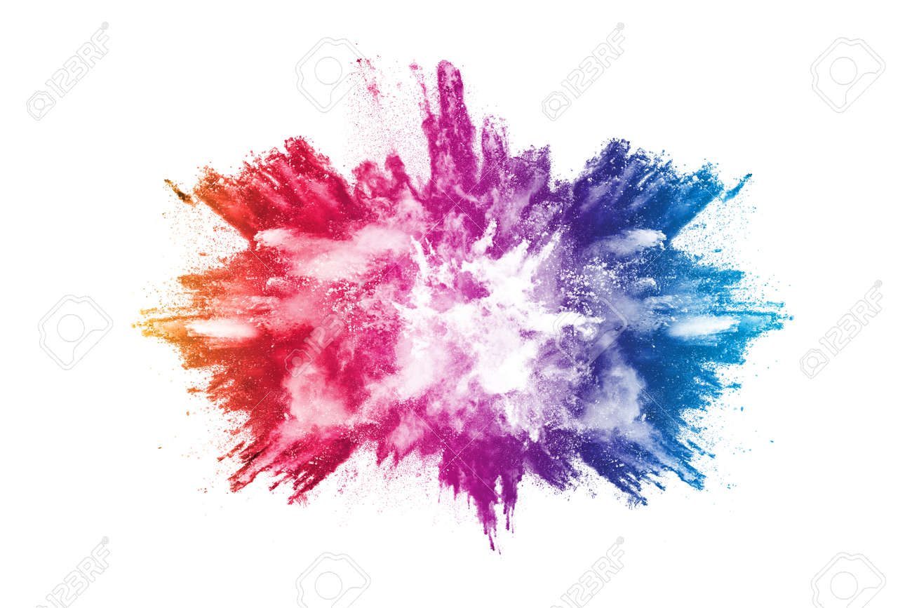 abstract powder splatted background. Colorful powder explosion on white background. Colored cloud. Colorful dust explode. Paint Holi. - 165553022