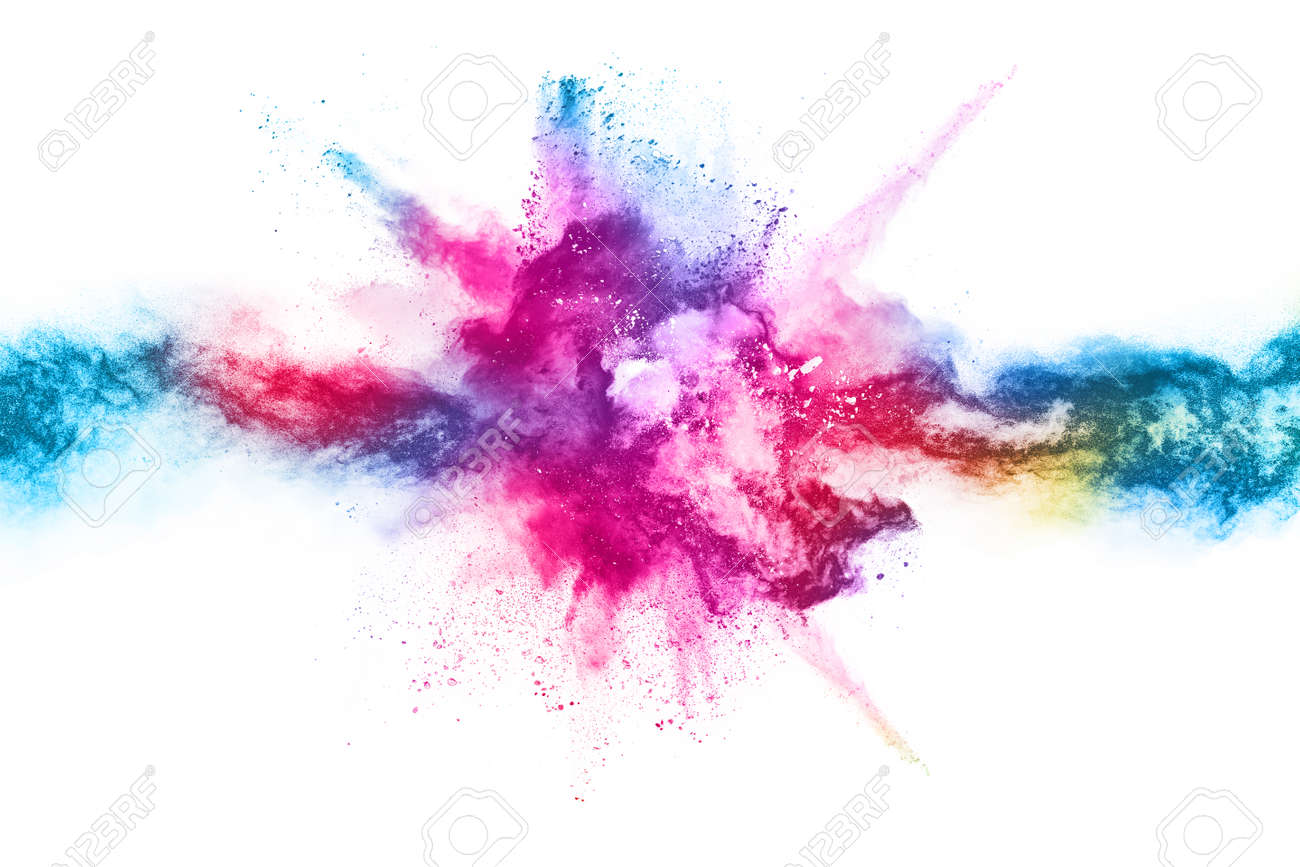 abstract powder splatted background. Colorful powder explosion on white background. Colored cloud. Colorful dust explode. Paint Holi. - 165553333