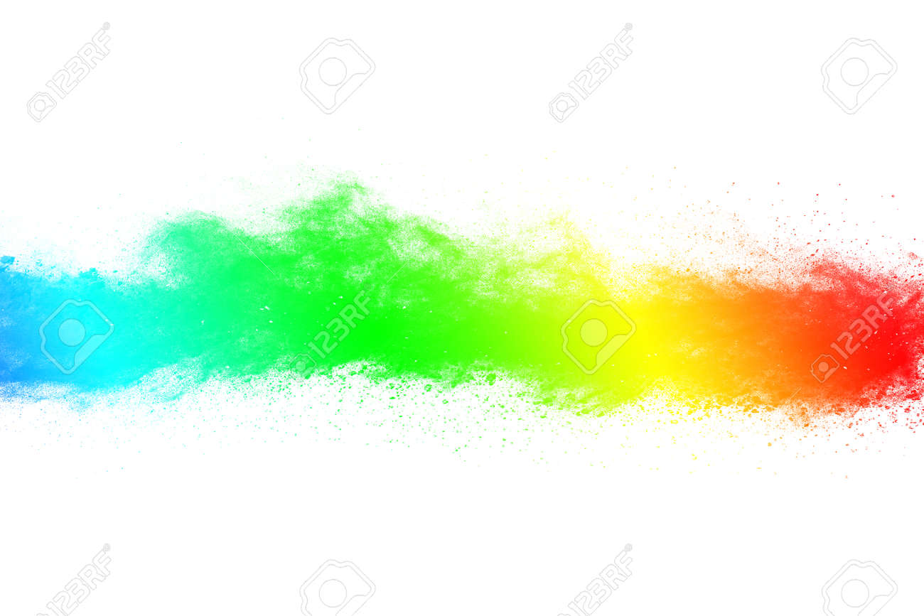 abstract powder splatted background. Colorful powder explosion on white background. Colored cloud. Colorful dust explode. Paint Holi. - 165547084