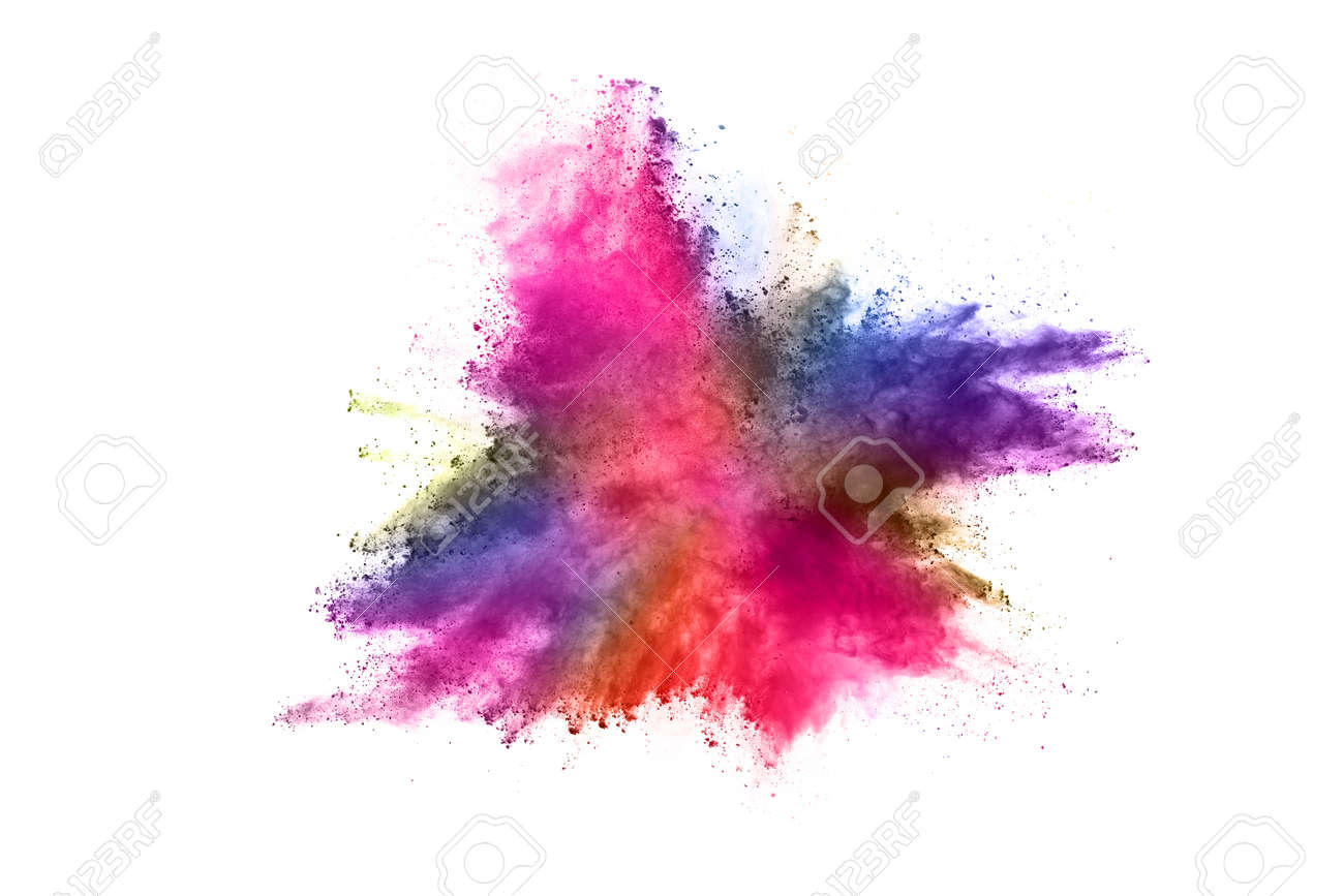 abstract powder splatted background. Colorful powder explosion on white background. Colored cloud. Colorful dust explode. Paint Holi. - 165547476