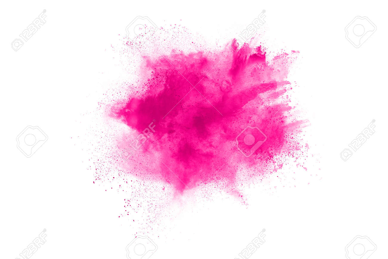 Abstract pink powder splatted background,Freeze motion of color powder exploding/throwing color powder,color glitter texture on white background. - 165547588