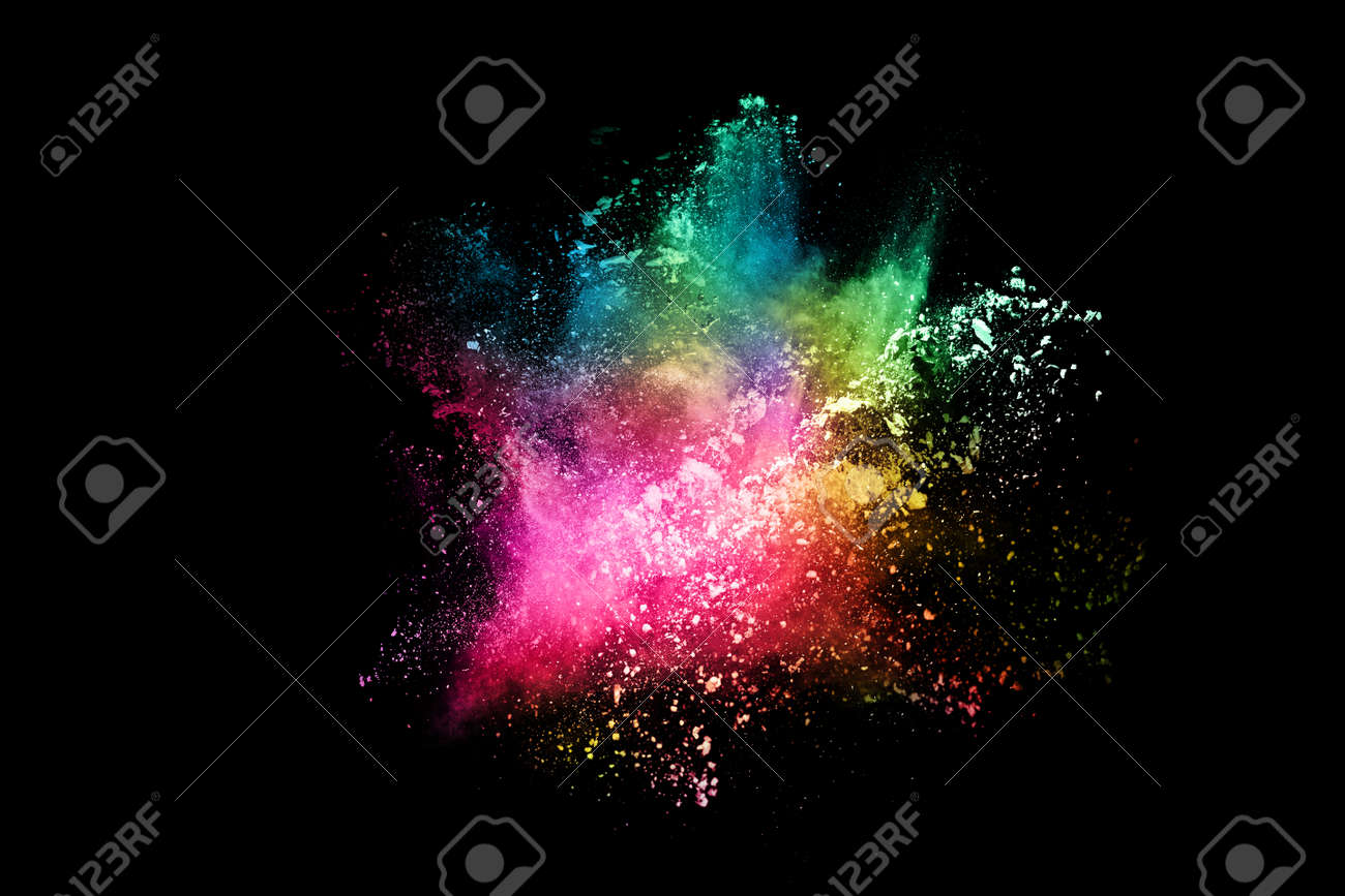 abstract colored dust explosion on a black background.abstract powder splatted background,Freeze motion of color powder exploding/throwing color powder, multicolored glitter texture. - 165548095