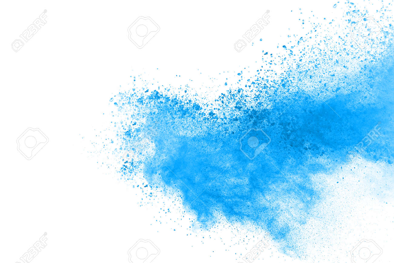 Blue color powder explosion on white background. Colored cloud. Colorful dust explode. Paint Holi. - 165548082