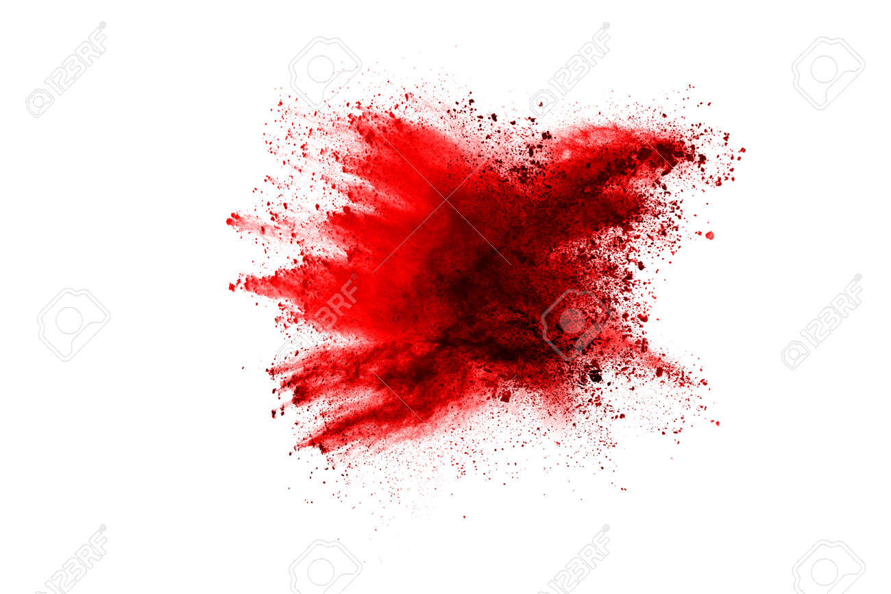 Freeze motion of red powder exploding, isolated on white background. Abstract design of red dust cloud. Particles explosion screen saver, wallpaper - 165547186