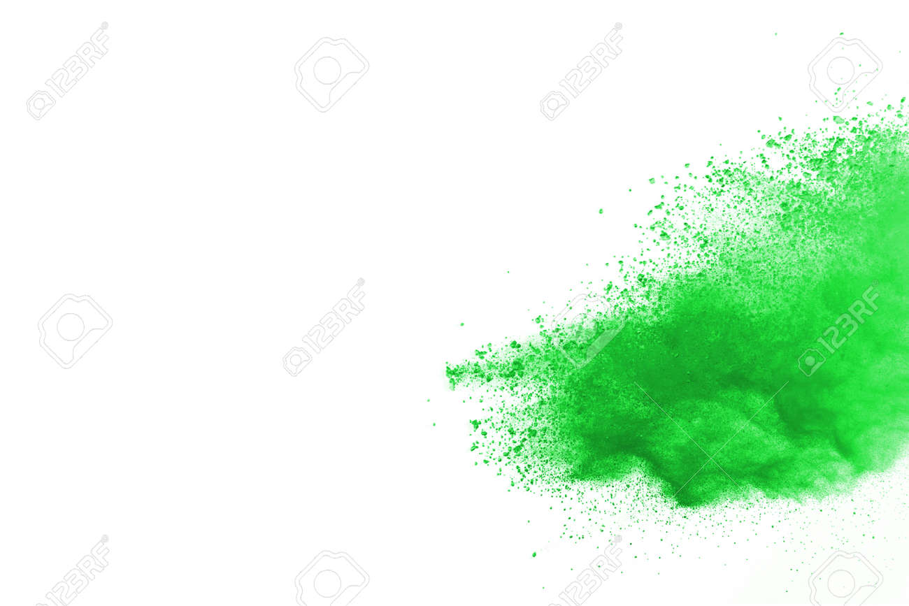 Green powder explosion on white background. Colored cloud. Colorful dust explode. Paint Holi. - 165549951