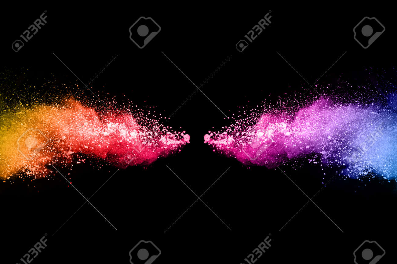 abstract colored dust explosion on a black background.abstract powder splatted background,Freeze motion of color powder exploding/throwing color powder, multicolored glitter texture. - 165539537