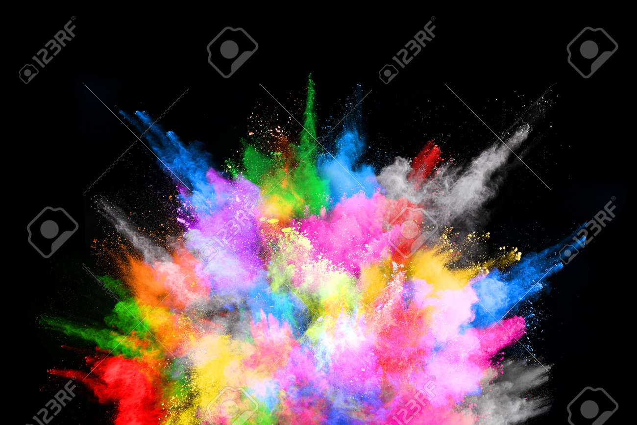 abstract colored dust explosion on a black background.abstract powder splatted background,Freeze motion of color powder exploding/throwing color powder, multicolored glitter texture. - 165647627