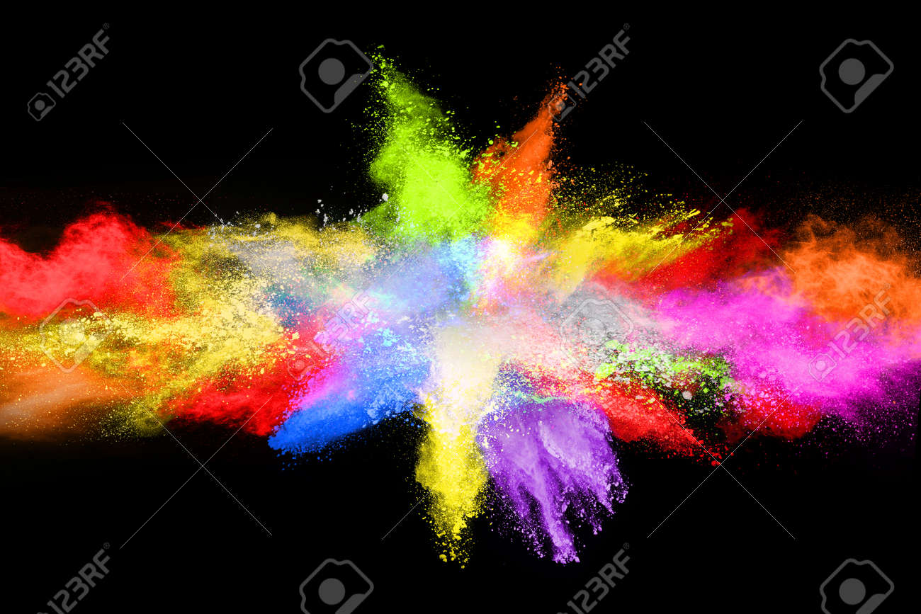 abstract colored dust explosion on a black background.abstract powder splatted background,Freeze motion of color powder exploding/throwing color powder, multicolored glitter texture. - 165759959
