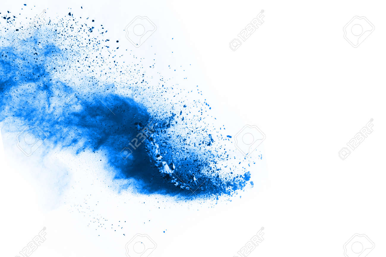 Blue color powder explosion on white background. Colored cloud. Colorful dust explode. Paint Holi. - 166547060