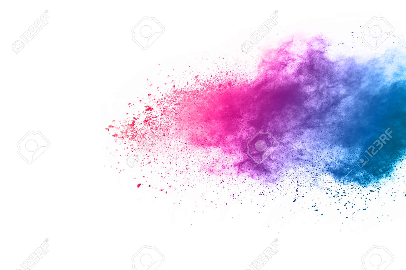 Abstract powder splatted background. Colorful powder explosion on white background. Colored cloud. Colorful dust explode. Paint Holi. - 165753936