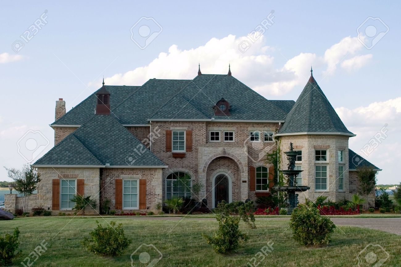 Huge Brick Modern French Provencial Style House With Ornate ... - ^