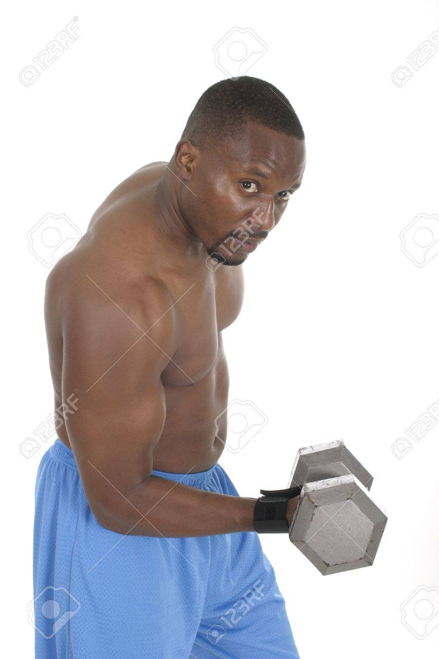 Handsome male with bulging muscles lifting weights. Stock Photo - 466679