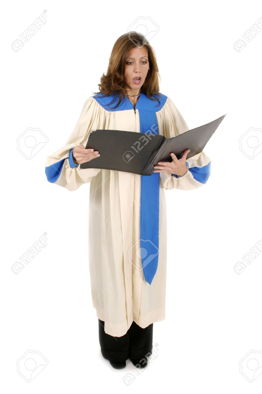 Beautiful Woman Church Choir Member In Choir Robe Holding A Music Stock Photo Picture And Royalty Free Image Image 487303
