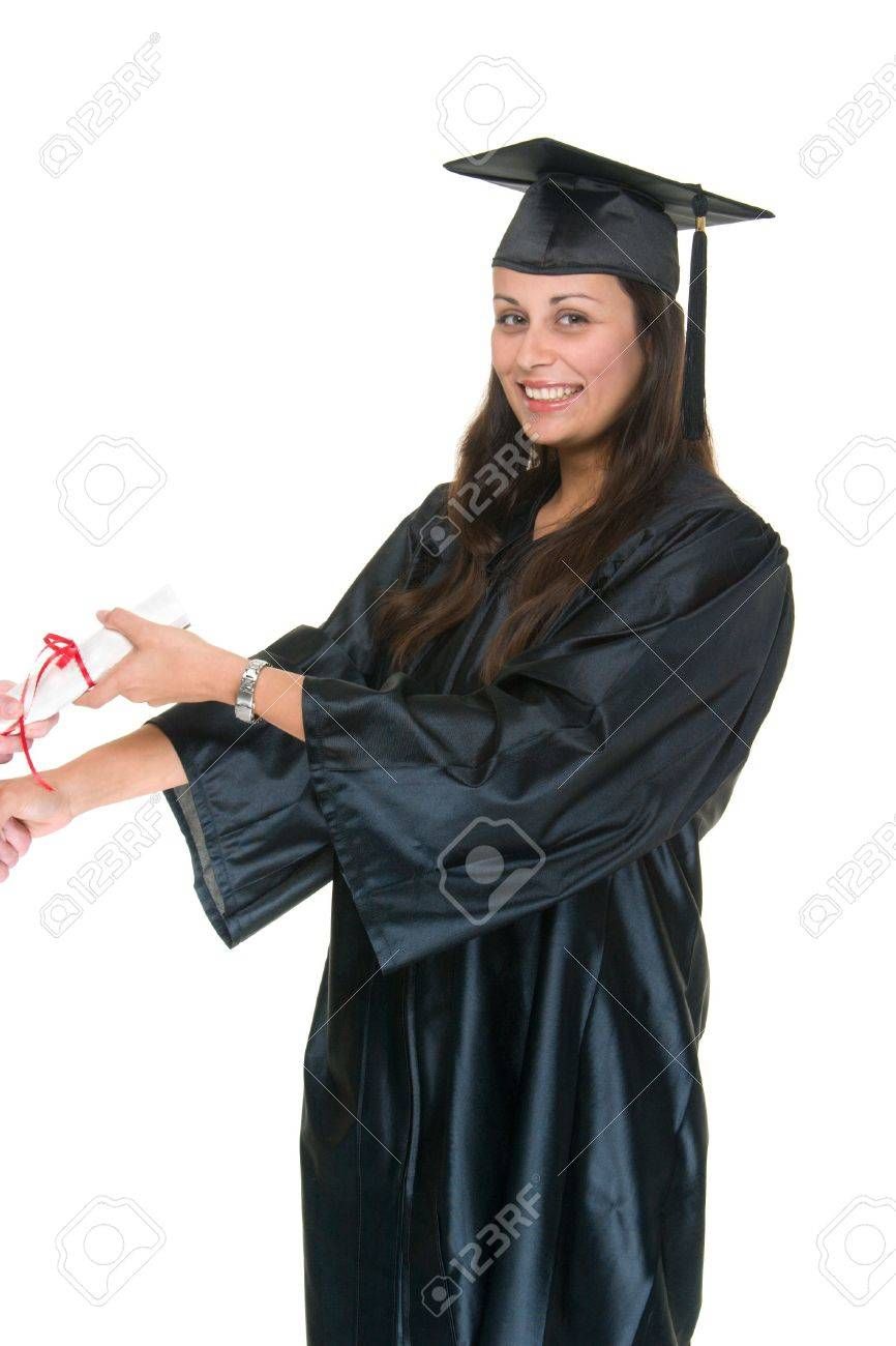 Very Happy Beautiful Young Woman Standing In Graduation Robes ...