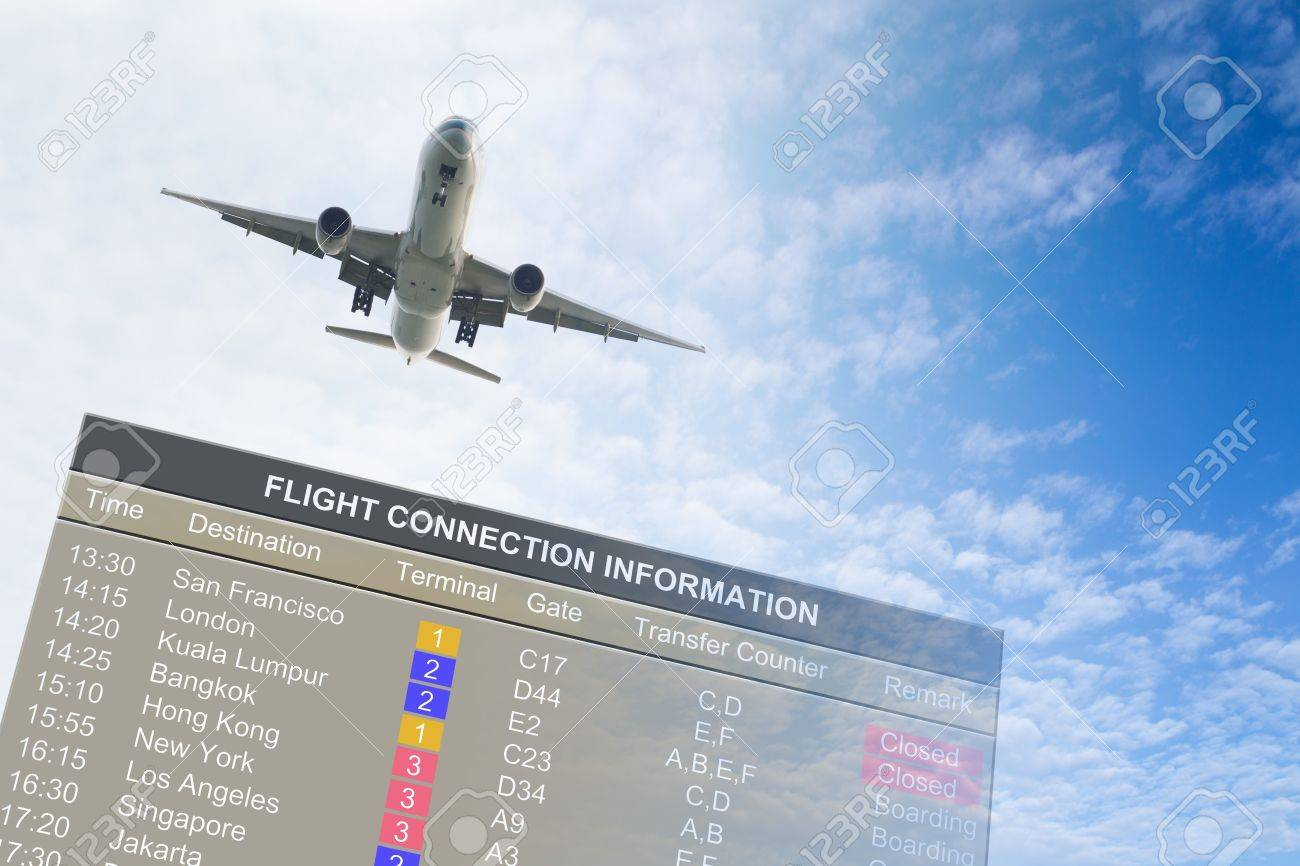 Airplane flying over an information board against blue cloudy sky Stock Photo - 13047926