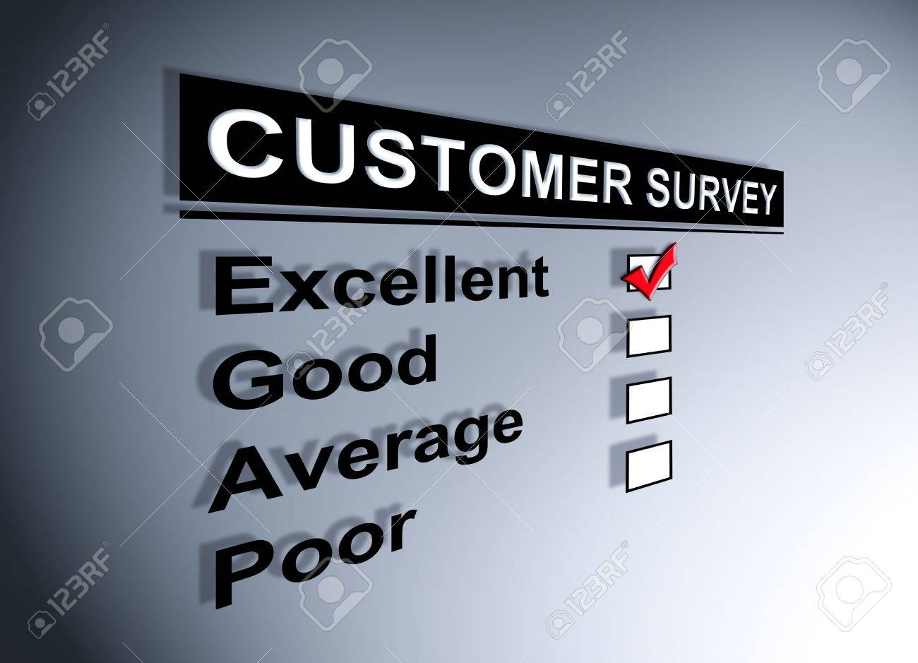 Excellent experience checkbox ticked in customer service survey form Stock Photo - 13761697