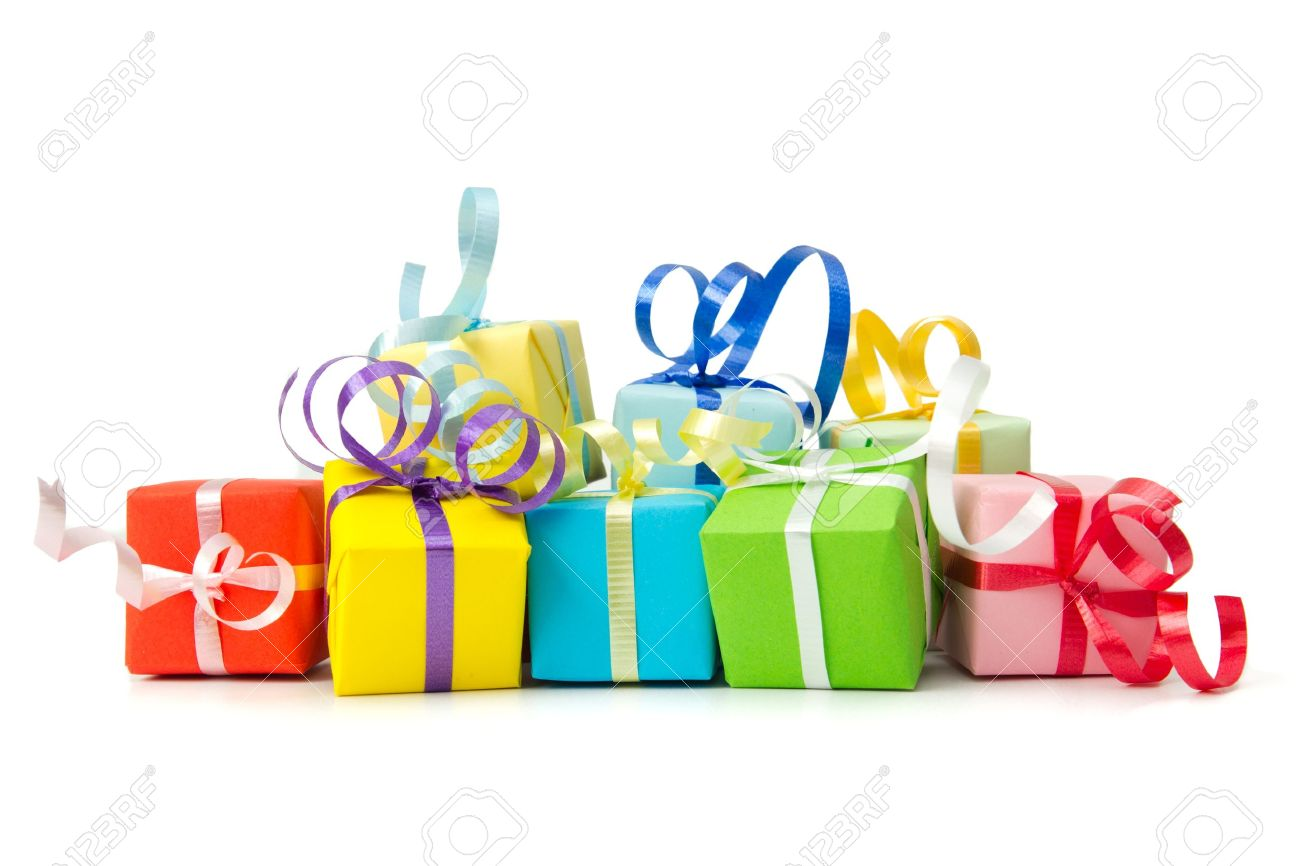 Multi color gift boxes with ribbon isolated on white background multi color gift boxes with ribbon isolated on white background stock photo 15548609 negle Choice Image