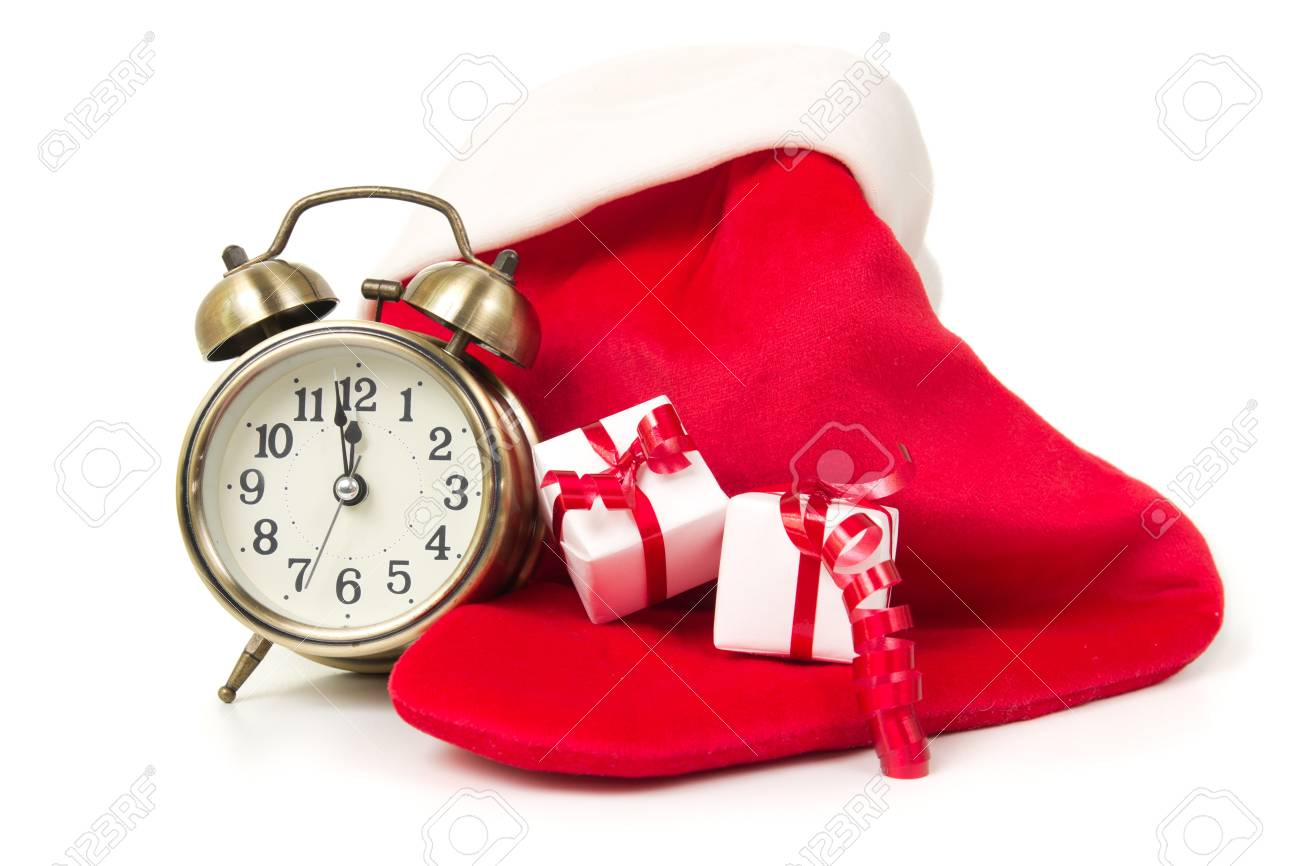 Countdown To Christmas Clock.Christmas Countdown Clock With Red Sock And Gift Boxes