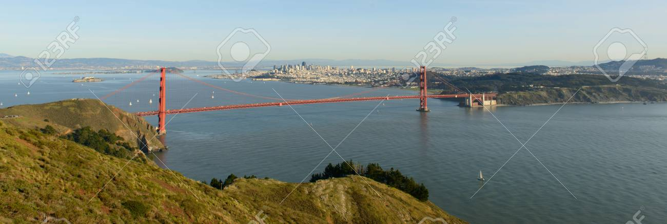 Panorama view of famous Golden Gate bridge, San Francisco Stock Photo - 17090867