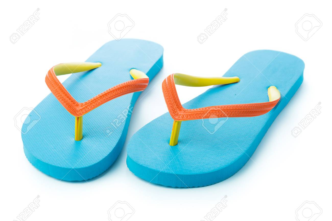 69d1e1d6bcc1 Pair of blue sandal isolated on white background Stock Photo - 28134406