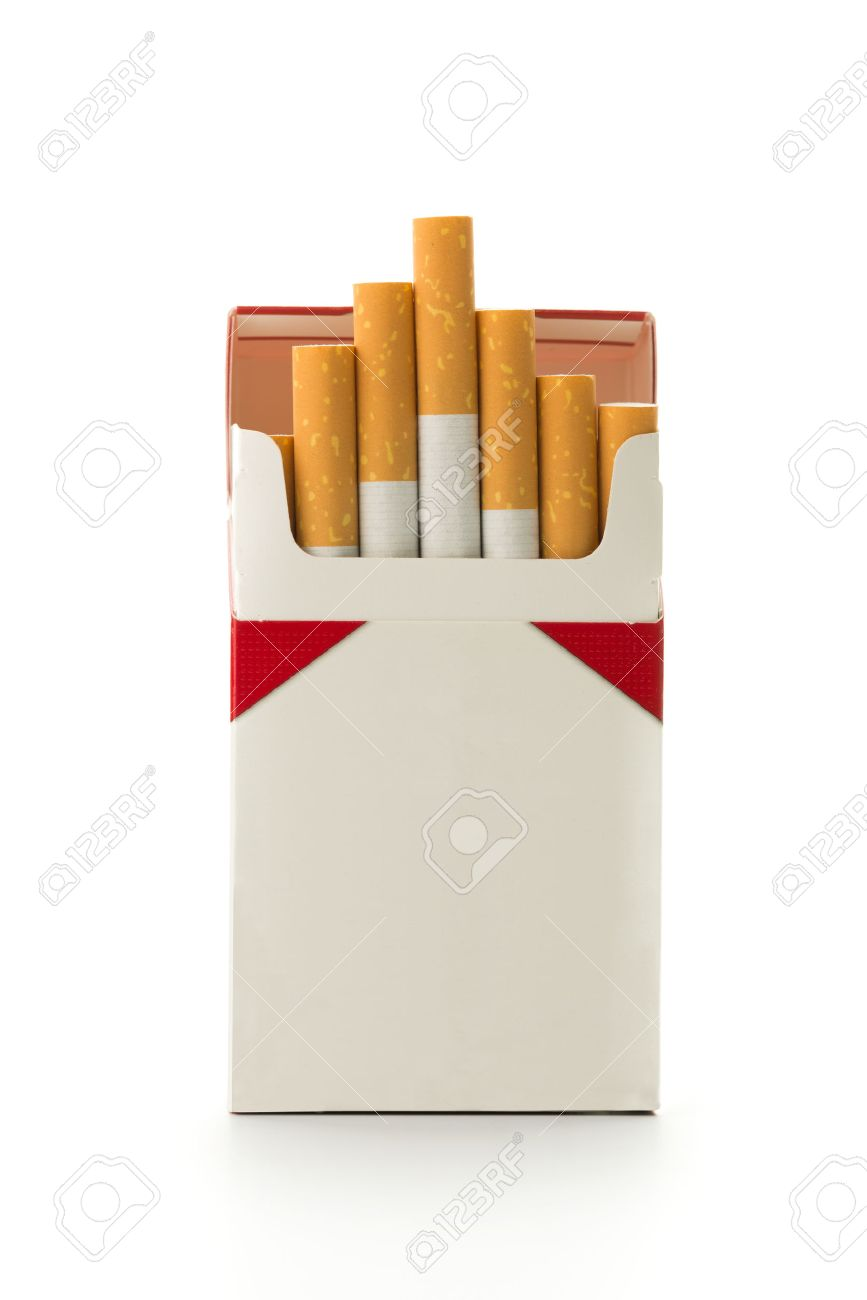 Cigarettes in the cigarette box over white background - 30790132