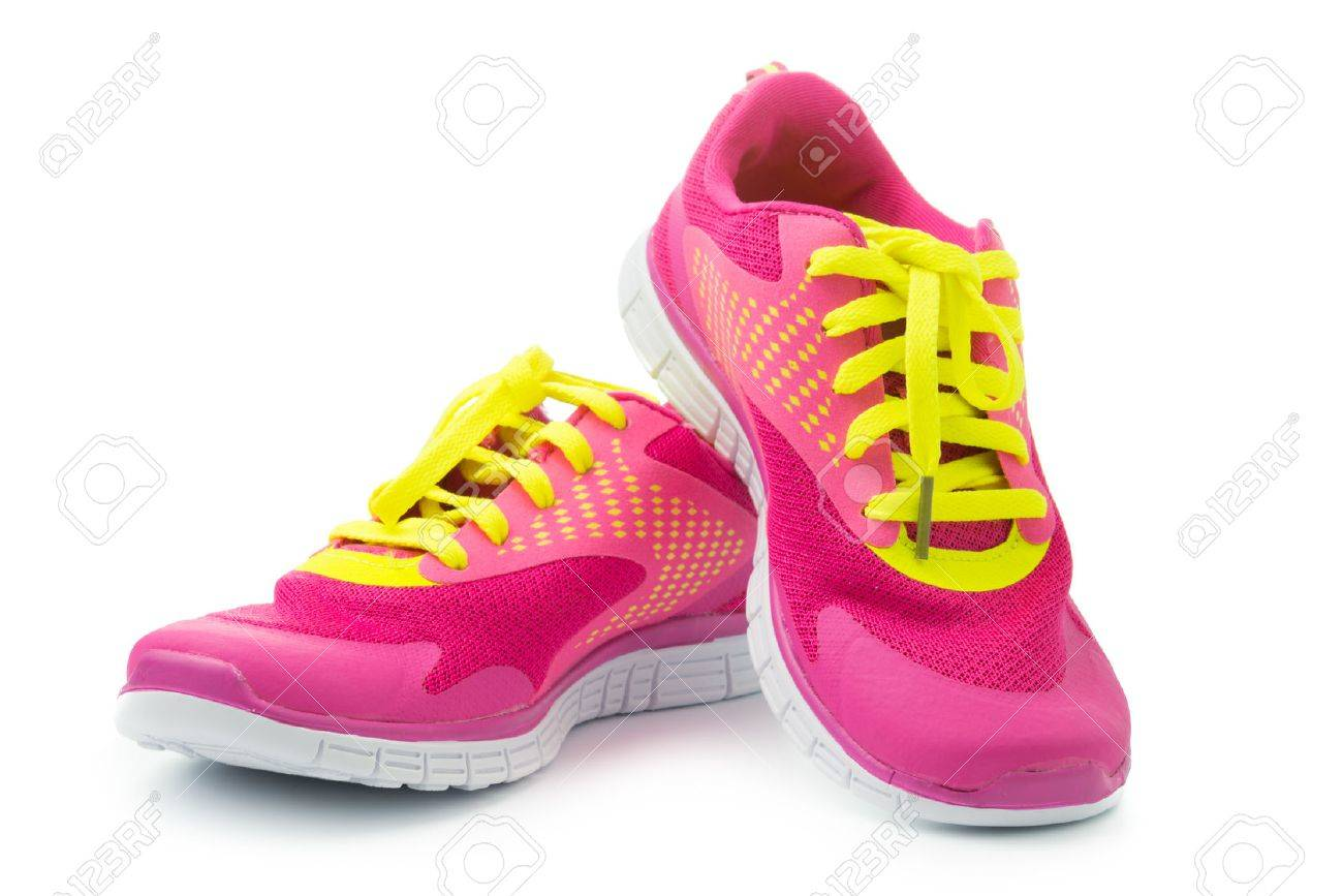9ecb20e3fbe1b Pair of pink sport shoes on white background Stock Photo - 33445363