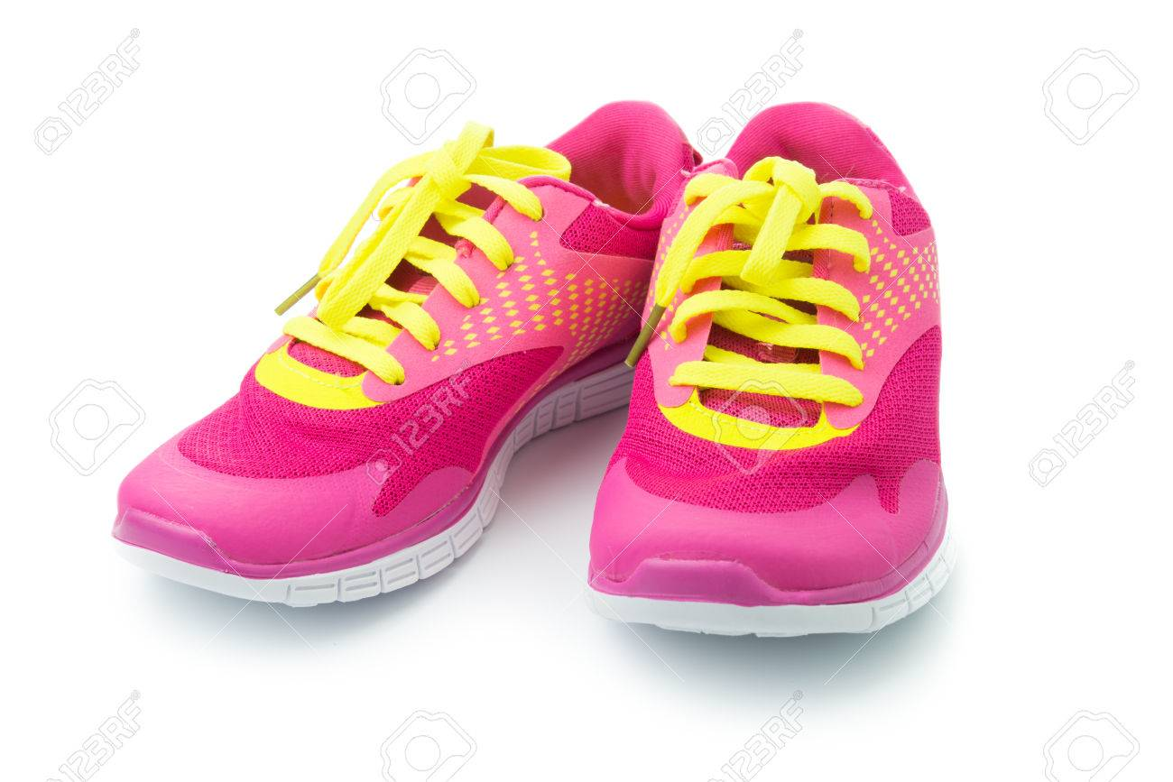 452e8bdc667f1 Pair of pink sport shoes on white background Stock Photo - 34126736