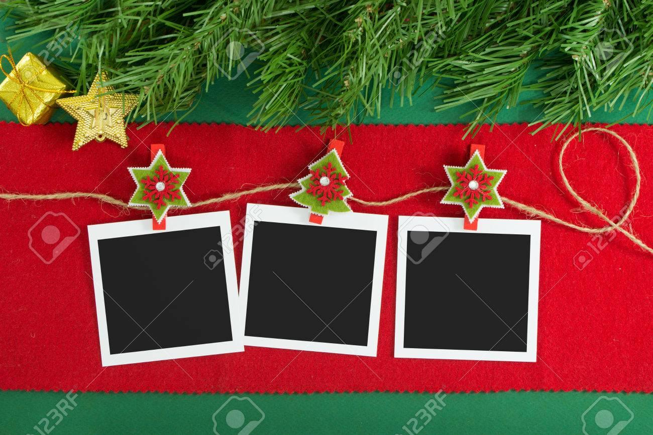 Polaroid Bilderrahmen Am Seil Hängen über Weihnachten Hintergrund ...