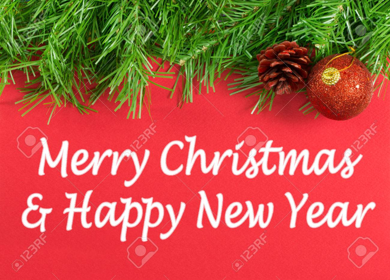 Merry Christmas And Happy New Year Greeting Message Stock Photo