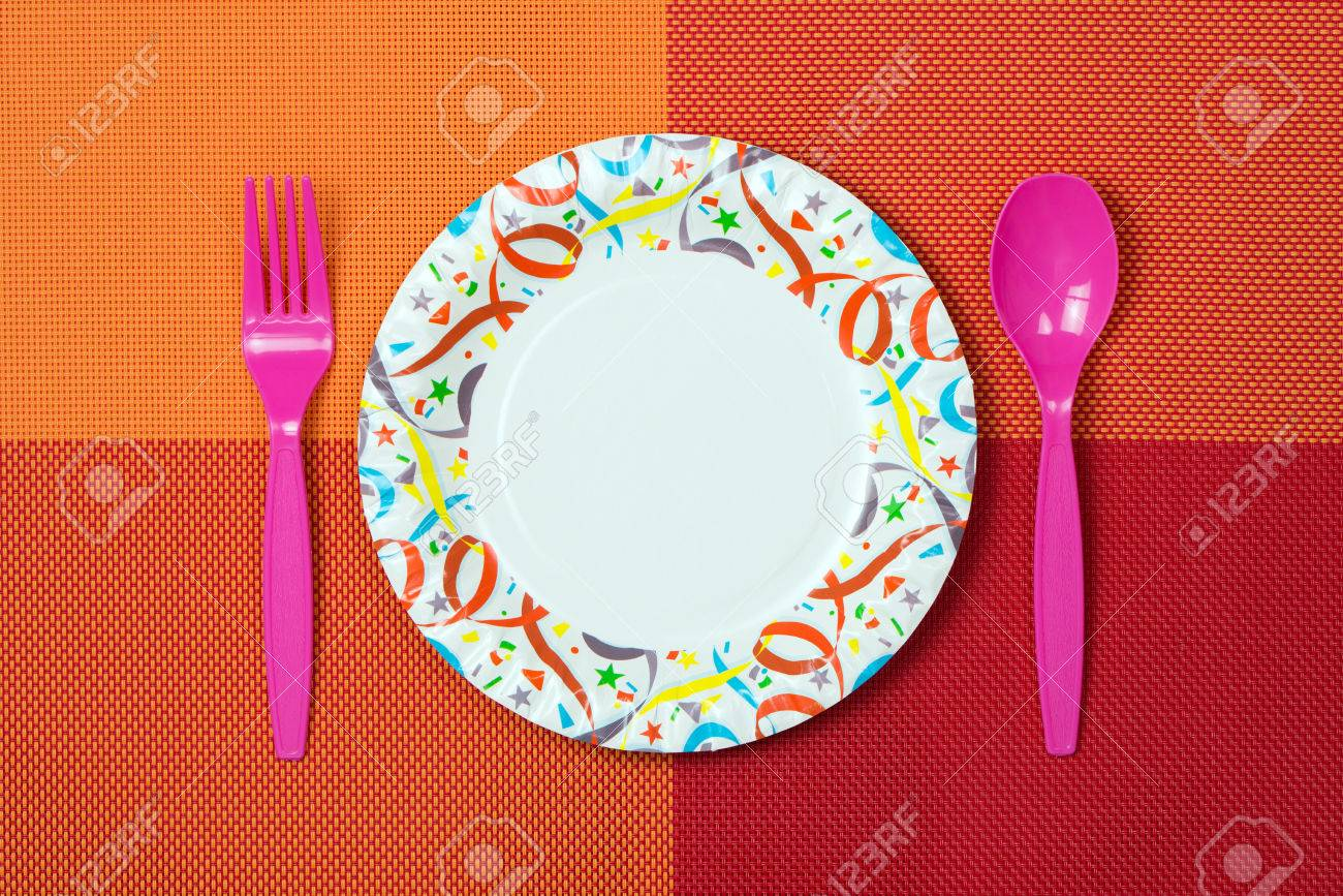 Stock Photo - Table setting with disposable paper plate plastic spoon and fork & Table Setting With Disposable Paper Plate Plastic Spoon And.. Stock ...