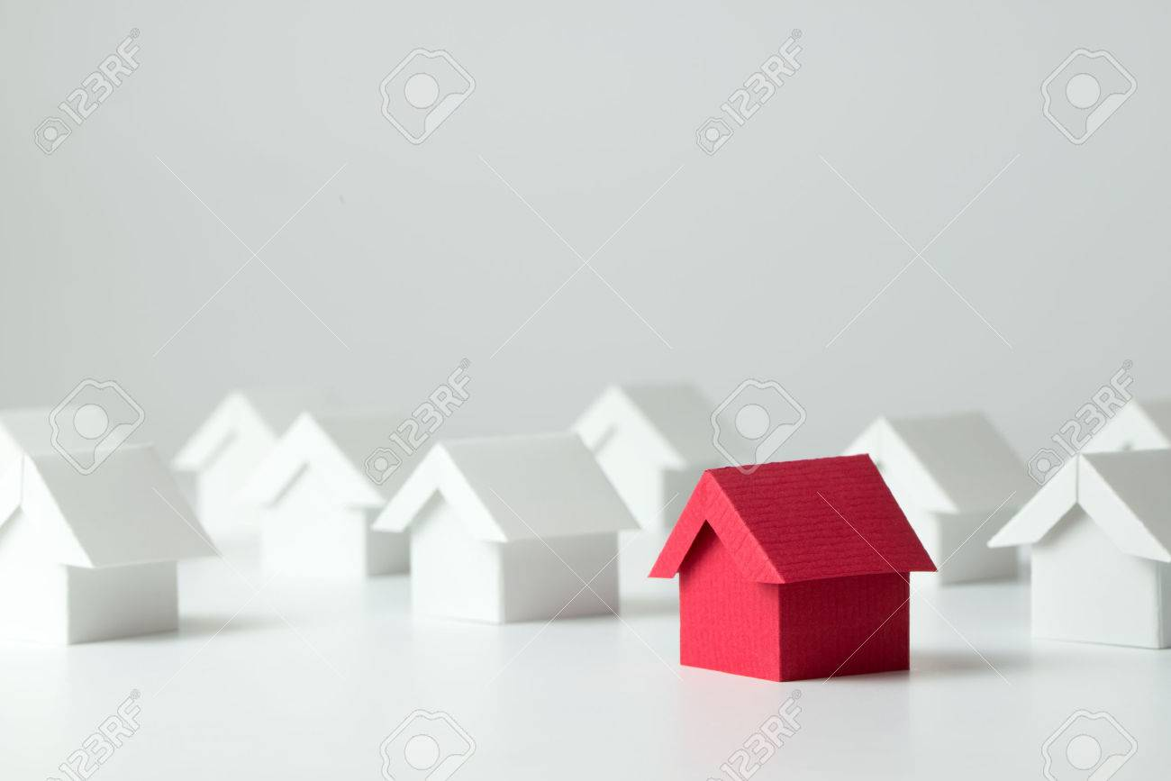 Red house in among white houses for real estate property industry - 57674978