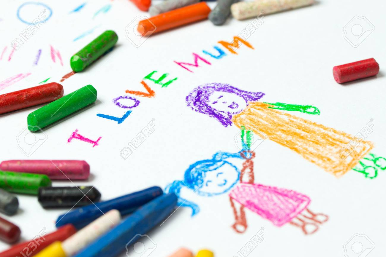 kid drawing of mother holding her daughter for happy mothers day theme - Kid Drawing Picture