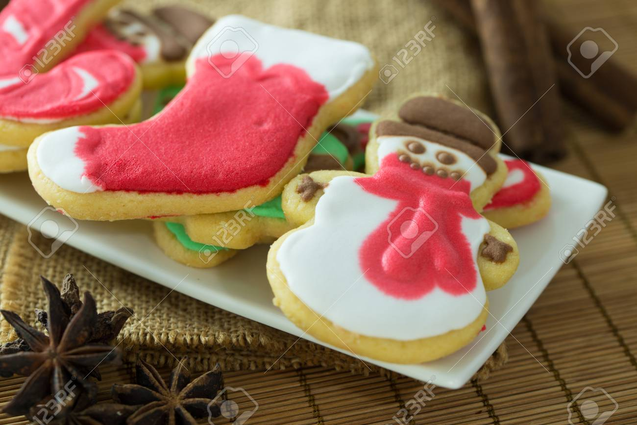 Homemade Christmas Cookies Decorated With Royal Icing Served