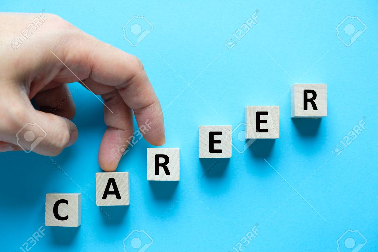 Wooden blocks arranged in stair shape with word career for career growth conceptual - 111460488
