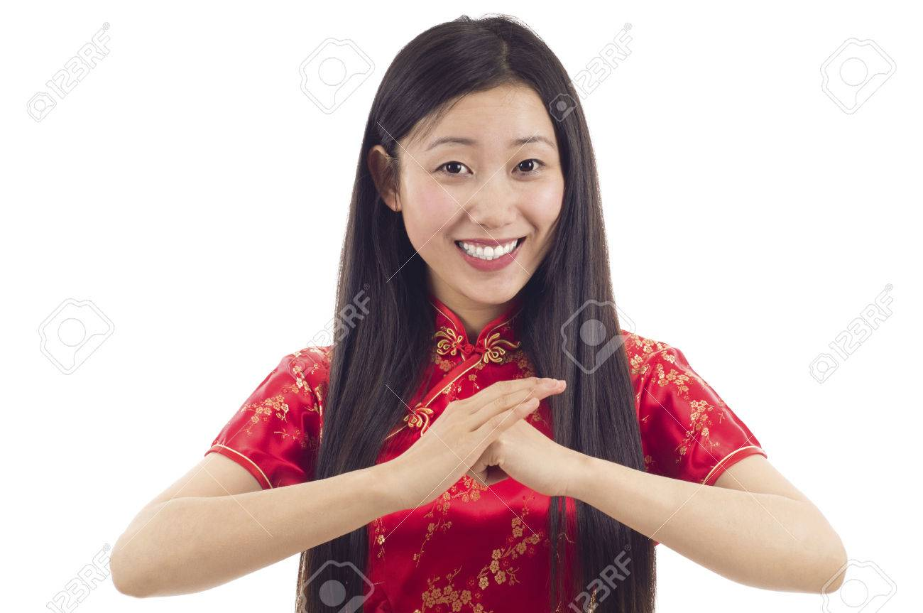Pretty Chinese Girl With Cheongsam Wishing You A Happy Chinese