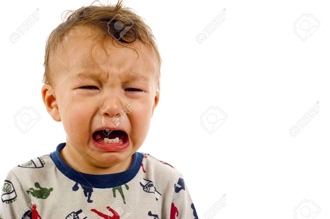 Unhappy, Crying Baby Boy a lot of Copyspace - Isolated over a white background - 41430776